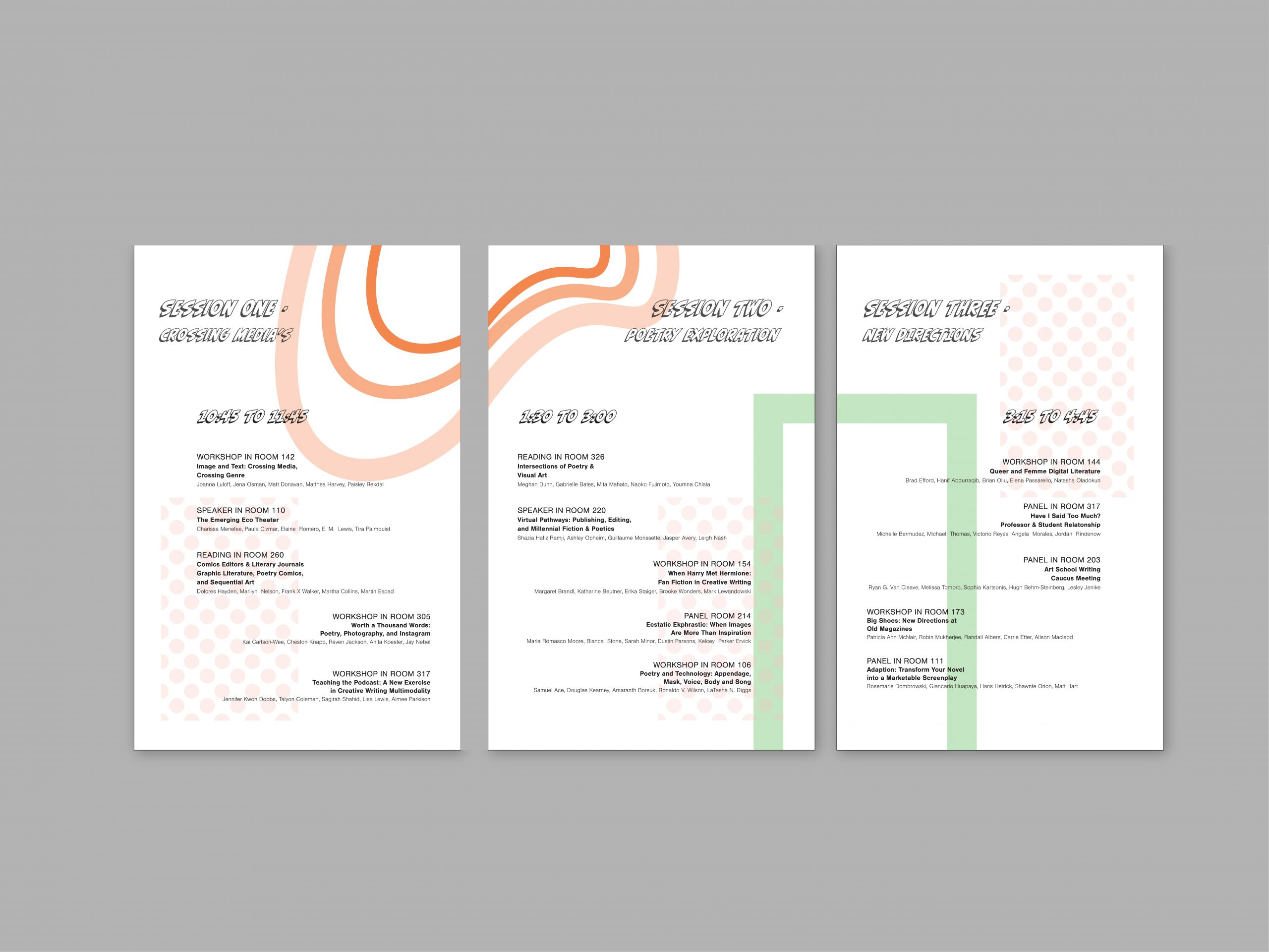Miranda Duea's three session posters for AWP conference design