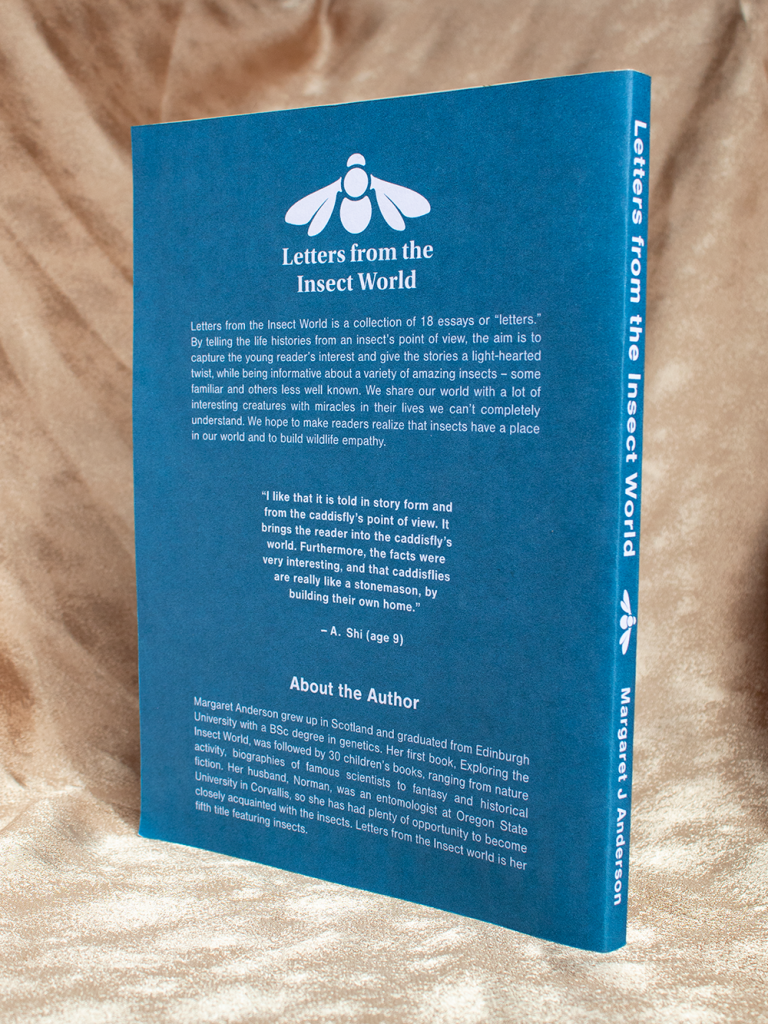 Letters from the Insect world back cover. Contains Insect logo, book summary, quote, about the author.